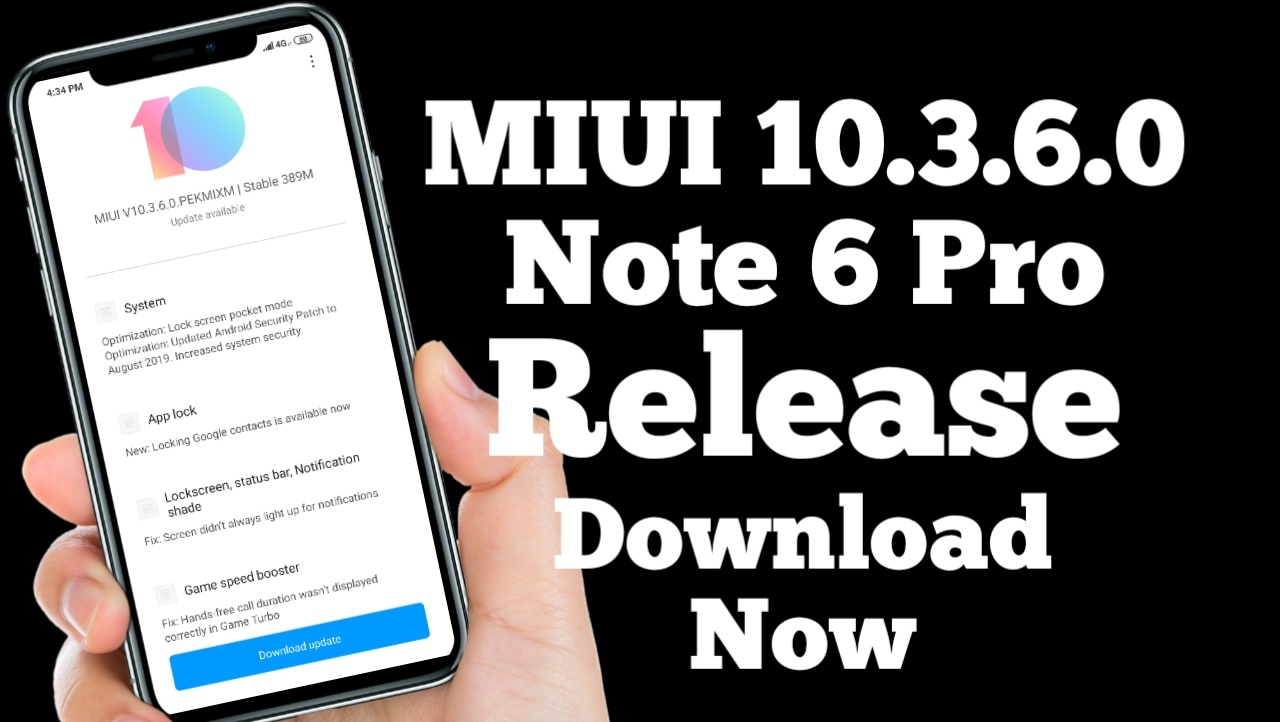Update For Redmi Note 6 Pro Download, Redmi Note 6 Pro Latest Stable Update MIUI 10.3.6.0
