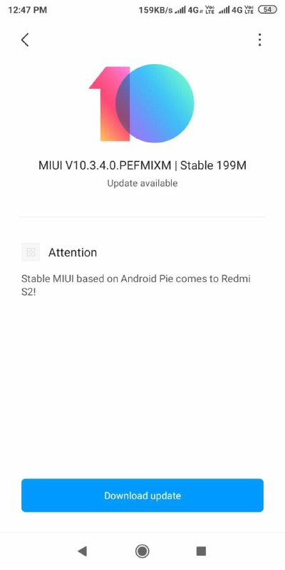 Download  latest MIUI v 10.3.4.0 Redmi Y2 Android Pie 9.0 Global Stable Update Download Now.