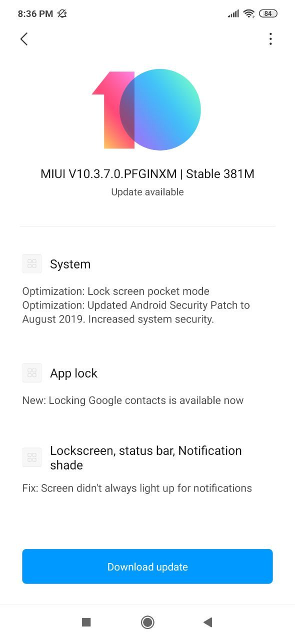 MIUI 10.3.7.0 Redmi Note 7  Download, Redmi Note 7S Latest Update MIUI 10.3.7.0
