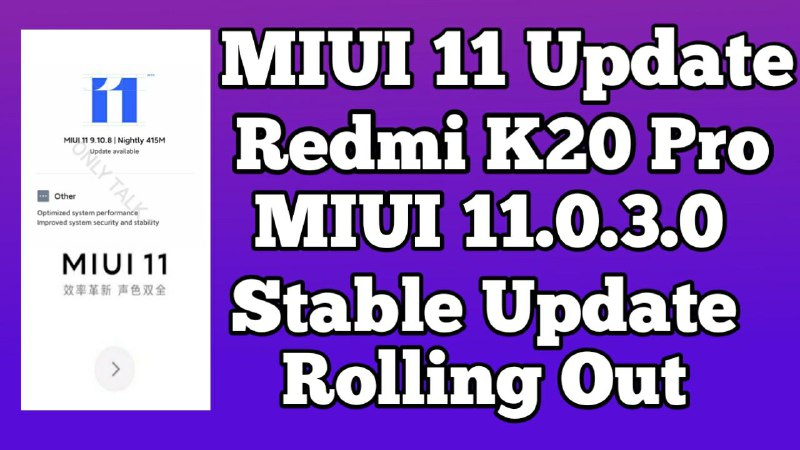 MIUI 11.0.3.0 China Stable ROM K20 Pro Download